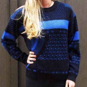 Nostalgic Abstract Asymmetrical Vintage Pullover